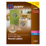 Avery Enviro Laser Labels - A4 - Round - 100% Recycled - Brown - 60mm diameter