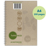 A4 lined - Spiral bound recycled notebook - 200 pages - Hard cover