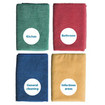 Oates Microfibre Cleaning Cloths - Colour coded - 40 x 40cm